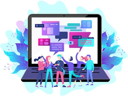 Concept Landing page template, flat style, businessmen discuss social network, news, social networks, chat, dialogue speech bubbles, new projects  イラスト・ベクター素材