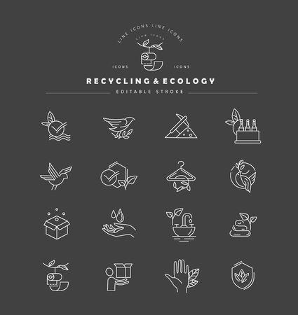 Vector icon and logo for environmental protection and recycling. Editable outline stroke size. Line flat contour, thin and linear design. Simple icons. Concept illustration. Sign, symbol, element. Ilustrace