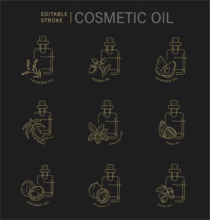 Vector icon and logo for natural cosmetics oil care dry skin. Editable outline stroke size. Line flat contour, thin and linear design. Simple icons. Concept illustration. Sign, symbol, element. Standard-Bild - 114160820