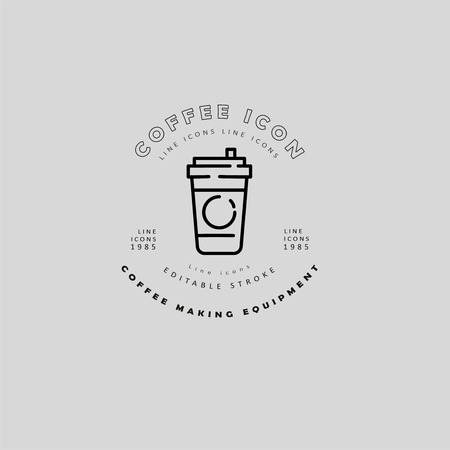 Vector icon and logo for coffee making equipment. Editable outline stroke size. Line flat contour, thin and linear design. Simple icons. Concept illustration. Sign, symbol, element. Banco de Imagens - 114160822