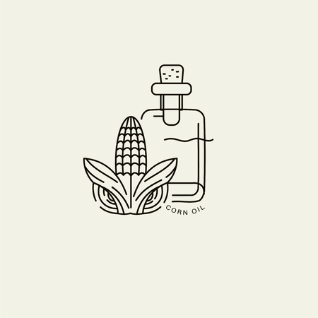 Vector icon and logo for natural cosmetics oil care dry skin. Editable outline stroke size. Line flat contour, thin and linear design. Simple icons. Concept illustration. Sign, symbol, element. Ilustracja