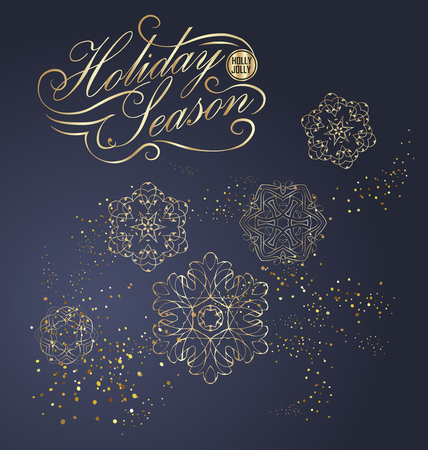 Elegant Christmas and happy New Year Background with Gold Shining decoration. Vector illustration Stock Vector - 126752631
