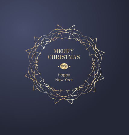 Elegant Christmas and happy New Year Background with Gold Shining decoration. Vector illustration Stock Vector - 126752641