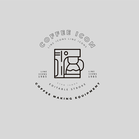 Vector icon and logo for coffee making equipment. Editable outline stroke size. Line flat contour, thin and linear design. Simple icons. Concept illustration. Sign, symbol, element. Banco de Imagens - 114160826