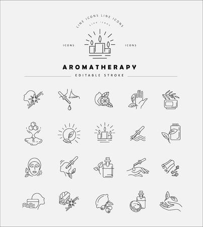 Icône vectorielle et logo pour l'aromathérapie. Taille de trait de contour modifiable. Ligne contour plat, design fin et linéaire. Icônes simples. Illustration de la notion. Signe, symbole, élément.