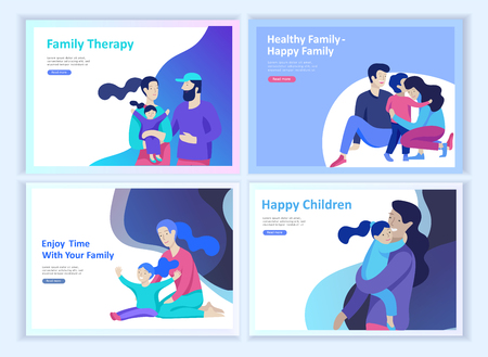 Set of Landing page templates happy family, travel and psychotherapy, family health care, goods entertainment for mother father and their children. Parents with daughter and son have fun togethers
