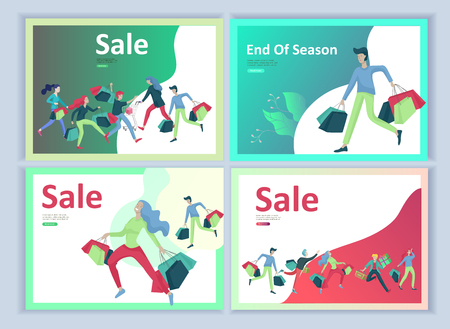 Set Landing page templates. People running for sale, crazy discounts, end of season, carrying shopping bags with purchases. Madness on seasonal sale at store shop. Cartoon character for black friday