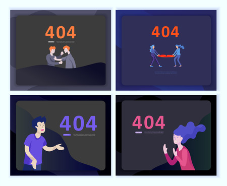 Set of Landing page templates Error page illustration with People characters. Page not found. Vector concept illustration for 404 error with Funny cartoon workers Ilustração