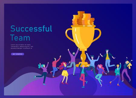 Business Team Success Hold Golden Siegerpokal, Konzept der Menschen freut sich über den Sieg. Büroangestellte, die mit großer Trophäe feiern, Ziele, den ersten Platz im Geschäft, finanzielles Wachstum. Landingpage