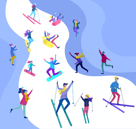 People dressed in winter clothes or outerwear performing outdoor activities fun. Snow festival, sledding and snowboard. Christmas family ski skating, making snowman, skiing wintertime extreme sport Illustration