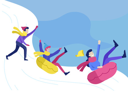People dressed in winter clothes or outerwear performing outdoor activities fun. Snow festival games sledding. Christmas family ski skating, wintertime extreme sport Illustration
