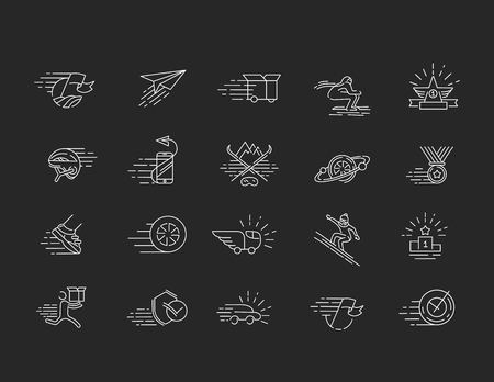 Vector icon and logo for speed motion. Editable outline stroke size. Line flat contour, thin and linear design. Simple icons. Concept illustration. Sign, symbol, element. Stock fotó - 114160941