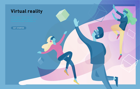 Man and woman wearing virtual reality headset and looking at abstract sphere. Colorful vr world. Virtual augmented reality glasses concept with people learning and entertaining. Landing page template Ilustração Vetorial