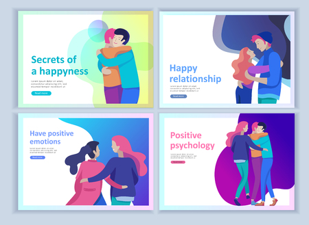 Set of Landing page templates for positive psychology, group family psychotherapy. Happy friends character have positive emotions, way to happiness and happy life munderstanding with friends and loved