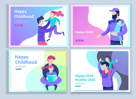 Set of Landing page templates for happy Fathers day, child health care, happy childhood and children, goods and entertainment for Father with children. Parents with daughter and son have fun togethers Illustration