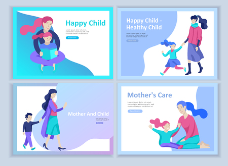 Set of Landing page templates for happy Mothers day, child health care, happy childhood and children, goods and entertainment for mother and children. Parents with daughter and son have fun togethers