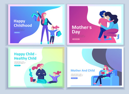 Set of Landing page templates for happy Mothers day, child health care, happy childhood and children, goods and entertainment for mother and children. Parents with daughter and son have fun togethers Banque d'images - 114160951