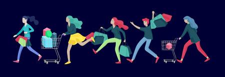 Collection de personnes portant des sacs à provisions avec des achats. Folie en vente, ligne d'hommes et de femmes fous participant à une vente saisonnière dans un magasin, une boutique, un centre commercial. Concept de personnages de dessins animés pour le vendredi noir.