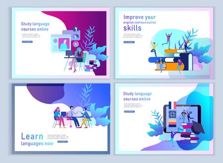 Ensemble de modèles de page de destination pour les cours de langue en ligne, l'enseignement à distance, la formation. Interface d'apprentissage des langues et concept d'enseignement. Concept d'éducation, formation des jeunes. Étudiants Internet