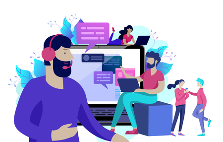 Concept Landing page template customer service, male hotline operator advises client, online global technical support, customer and operator Illustration