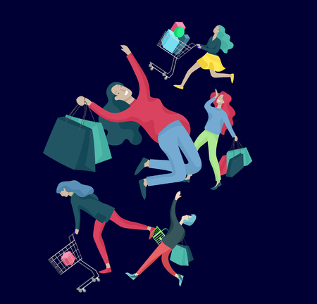 Collection of people carrying shopping bags with purchases. Madness on sale, line of crazy Men and women taking part in seasonal sale at store, shop, mall. Cartoon characters concept for black friday. Ilustração
