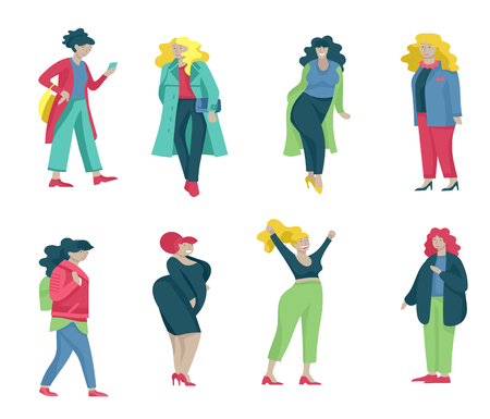 Plus size women dressed in stylish clothing. Set of curvy girls wearing trendy clothes. Happy Female cartoon characters. Bodypositive concept illustration Foto de archivo - 114160968