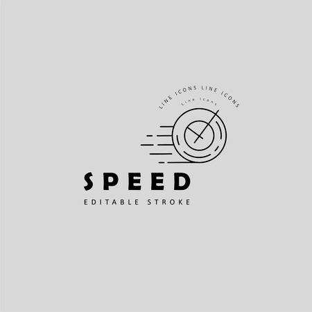 Vector icon and logo for speed motion. Editable outline stroke size. Line flat contour, thin and linear design. Simple icons. Concept illustration. Sign, symbol, element. Stock fotó - 114160973