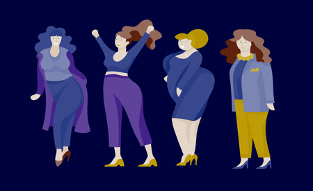 Plus size women dressed in stylish clothing. Set of curvy girls wearing trendy clothes. Happy Female cartoon characters. Bodypositive concept illustration Stock Vector - 114161059