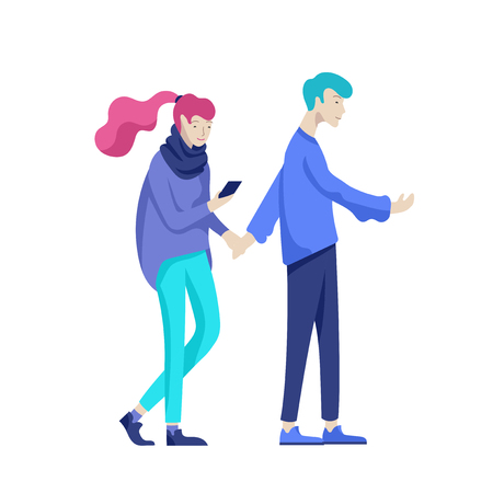 Vector people character walking on the street in autumn or winter clothes, friends and couples. Colorful Group of male and female flat cartoon characters Banque d'images - 126752709