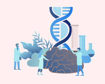 Neurology genetics concept. Flat style little people doctors medical team working, constructing DNA, researching Deoxyribonucleic acid. Brain, Creative mind, learning and design Landing page template.