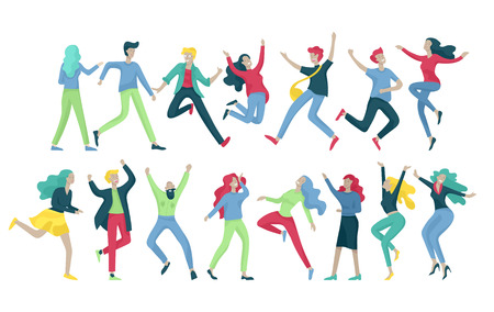 Jumping character in various poses. Group of young joyful laughing people jumping with raised hands. Happy positive young men and women rejoicing together, happiness, freedom, motion people concept. Vectores