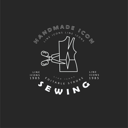 Vector icon and logo sewing and handmade. Editable outline stroke size. Line flat contour, thin and linear design. Simple icons. Concept illustration. Sign, symbol, element.