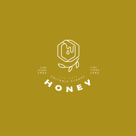 Vector icon and logo honey. Editable outline stroke size. Line flat contour, thin and linear design. Simple icons. Concept illustration. Sign, symbol, element. Logo