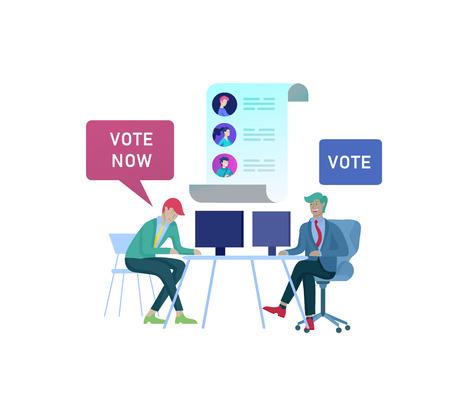 Concept de vote et d'élection. Campagne préélectorale. Promotion et publicité du candidat. Citoyens débattant des candidats pour voter et voter Concept de vote et d'élection en ligne avec des personnes.