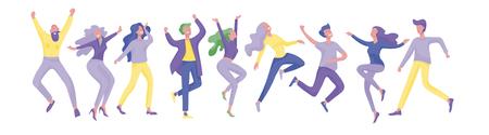 Collezione di ballerini. Uomini e donne che eseguono danza a scuola, studio. Personaggi maschili e femminili. Gruppo di giovani danzanti felici. Giovani uomini e donne sorridenti che si godono la festa da ballo