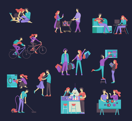Everyday routine scenes and spend time together of young romantic couple. Pair of boy and girl cleaning up house, cooking food, washing clothes. Vector people character. Editable outline stroke size. Colorful flat concept illustration.