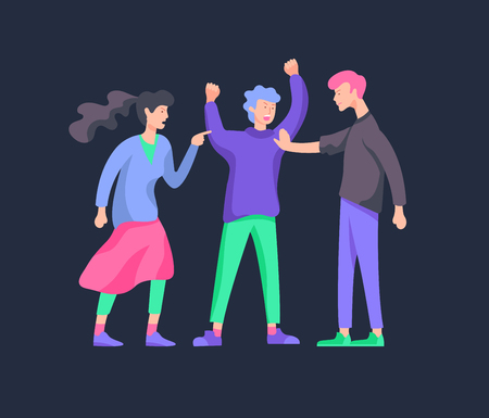 Vector people in bad emotions, character in conflict, angry or tired and in stress. Aggressive people yell at each other. Colorful flat concept illustration. Archivio Fotografico - 126757225