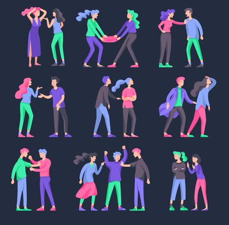 Vector people in bad emotions, character in conflict, angry or tired and in stress. Aggressive people yell at each other. Colorful flat concept illustration. Archivio Fotografico - 126757228