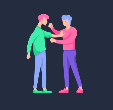 Vector people in bad emotions, character in conflict, angry or tired and in stress. Aggressive people yell at each other. Colorful flat concept illustration. Archivio Fotografico - 126757236