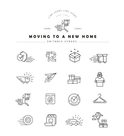 Icône vectorielle et logo pour déménager dans une nouvelle maison. Taille de trait de contour modifiable. Ligne contour plat, design fin et linéaire. Icônes simples. Illustration de la notion. Signe, symbole, élément. Logo