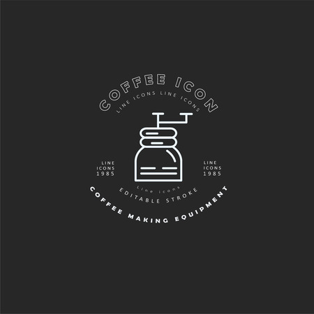 Vector icon and logo for coffee making equipment. Editable outline stroke size. Line flat contour, thin and linear design. Simple icons. Concept illustration. Sign, symbol, element. Banco de Imagens - 114161225