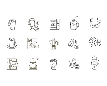 Vector icon and logo for coffee making equipment. Editable outline stroke size. Line flat contour, thin and linear design. Simple icons. Concept illustration. Sign, symbol, element. Banco de Imagens - 114161313