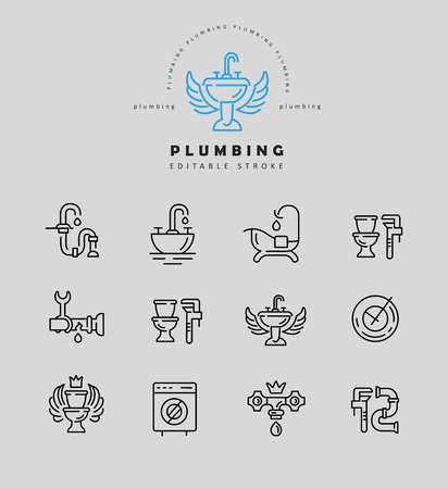 Vector icon and logo of plumbing. Editable outline stroke size. Line flat contour, thin and linear design. Simple icons. Concept illustration. Sign, symbol, element. Reklamní fotografie - 114161314