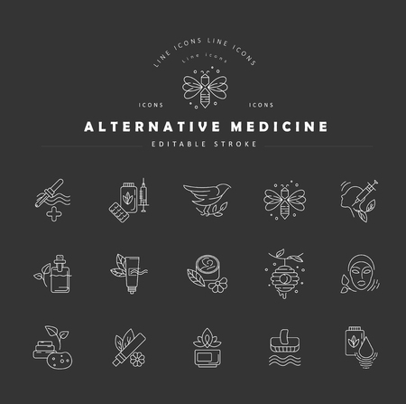 Vector icon and logo for alternative medicine. Editable outline stroke size. Line flat contour, thin and linear design. Simple icons. Concept illustration. Sign, symbol, element. Banque d'images - 114161327