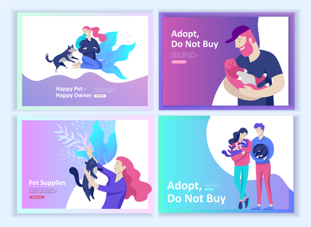 Set of Landing page templates with Vector character. Happy people with their pets, cat love their owners, care and love, pet shop and veterinary pharmacy. Animal Protection Day and adoption. ?oncept illustration Illustration