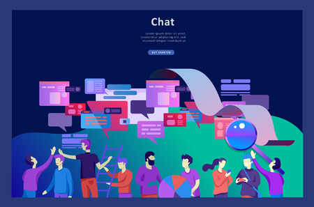Concept Landing page template, flat style, businessmen discuss social network, news, social networks, chat, dialogue speech bubbles, new projects 向量圖像