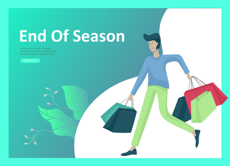 Landing page templates. People running for sale, crazy discounts, end of season, carrying shopping bags with purchases. Madness on seasonal sale at store shop. Cartoon character for black friday