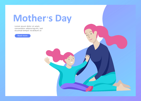 Set of Landing page templates for happy mothers day, child health care, happy childhood and children, goods and entertainment for mother with children. Parent with daughter or son have fun togethers Banque d'images - 114161450