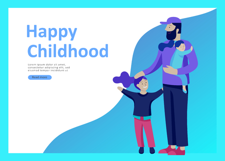 Landing page templates for happy Fathers day, child health care, happy childhood and children, goods and entertainment for Father with children. Parents with daughter and son have fun togethers