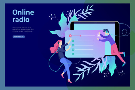 Concept of internet online radio streaming listening, people relax listen dance. Music applications, playlist online songs, radio station. Music blog, sound recording studio. Landing page template. Çizim